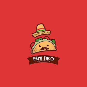 Logo mascotte papa taco mignon avec chapeau mexicain et moustache en hachure de style rétro vintage