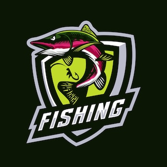 Logo de mascotte de pêche