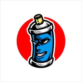 Logo de mascotte de peinture en aérosol