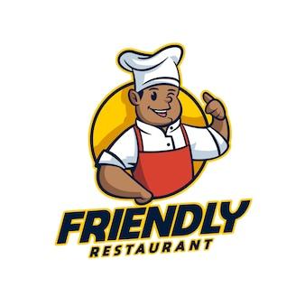 Logo mascotte de personnage afro-américain de dessin animé
