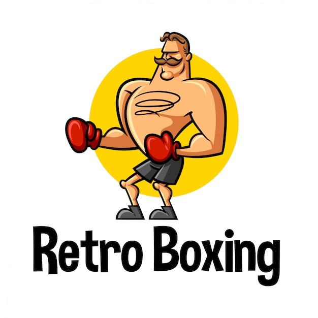 Logo mascotte de personnage de boxeur rétro