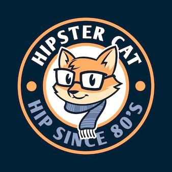 Logo de mascotte de personnage de dessin animé hipster chat