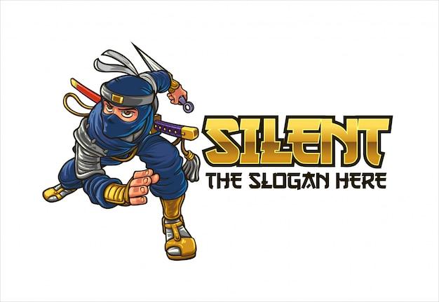 Logo de mascotte de personnage de ninja féroce de dessin animé