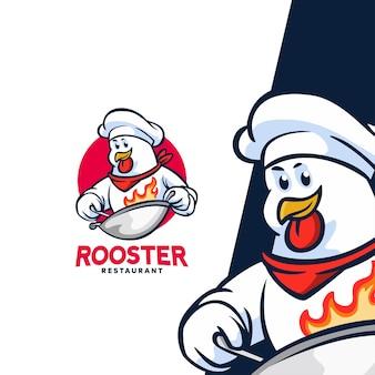 Logo de mascotte de personnage de restaurant de coq adapté au restaurant