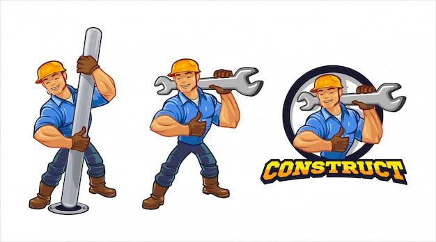 Logo de mascotte personnage travailleur de la construction de la ville