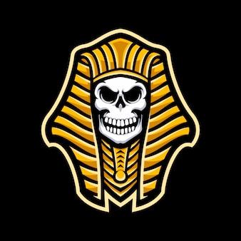 Logo de la mascotte pharaon crâne isolé