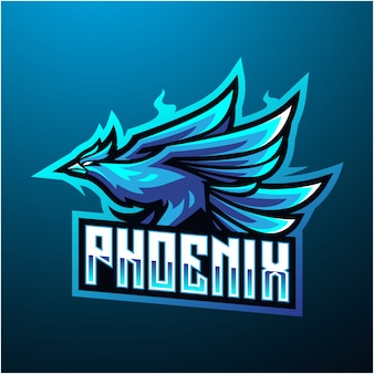 Logo mascotte phoenix esport bleu