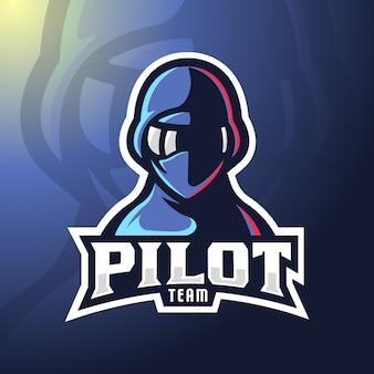 Logo de mascotte pilote.