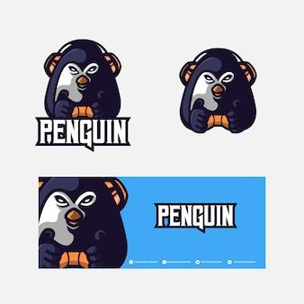 Logo mascotte pingouin esport