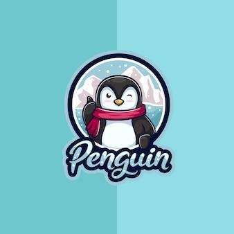 Logo de mascotte de pingouin