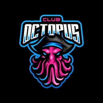 Logo de mascotte de pirate de poulpe