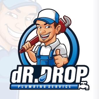 Logo de mascotte de plomberie