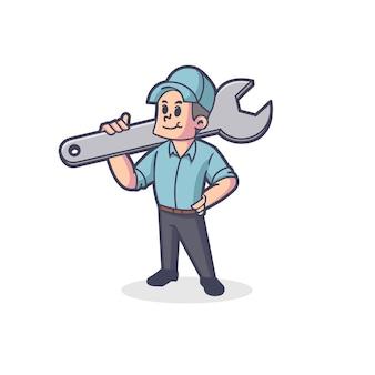 Logo mascotte plombier rétro