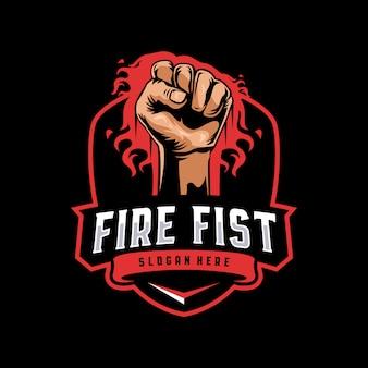 Logo de mascotte de poing de feu