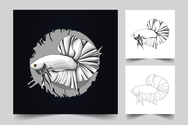 Logo de mascotte de poisson betta
