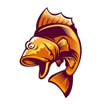 Logo de mascotte de poisson de grosse bouche