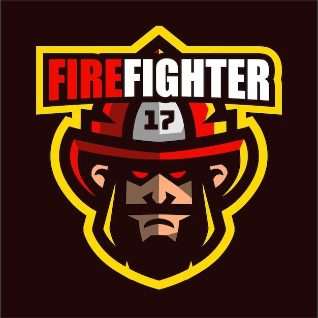 Logo de mascotte de pompier