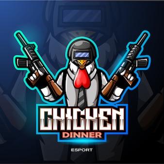 Logo de mascotte de poulet coq
