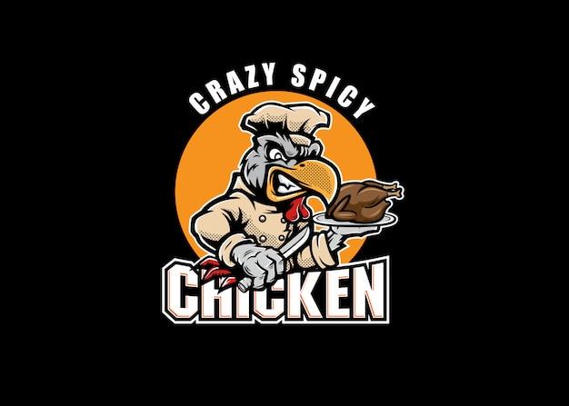 Logo de mascotte de poulet épicé fou