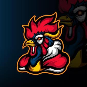 Logo de mascotte de poulet force esport