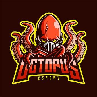 Logo de mascotte de poulpe pour l'esport et le sport