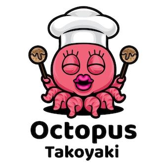Logo de mascotte de poulpe takoyaki