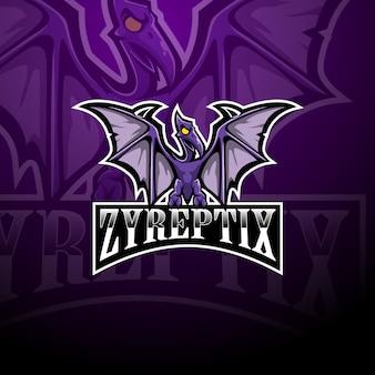 Logo de mascotte de ptérodactyle esport