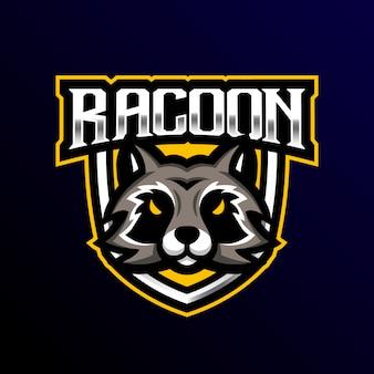 Logo de la mascotte racoon esport gaming