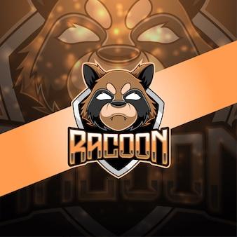 Logo mascotte racoon esport