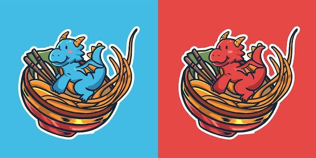 Logo de mascotte ramen dragon mignon