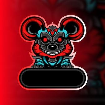 Logo de la mascotte de rat monstre