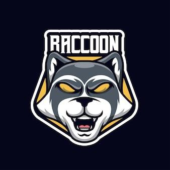 Logo de mascotte de raton laveur pour l'équipe d'esports