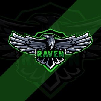 Logo mascotte raven esport design