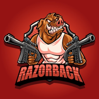 Logo mascotte razorback avec double pistolet