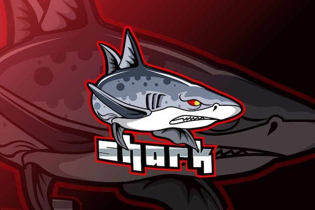 Logo de mascotte de requin pour les jeux de sport électroniques