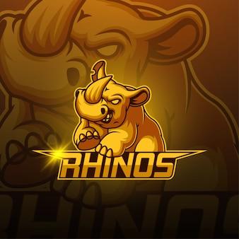 Logo de la mascotte rhino esport