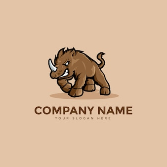 Logo de mascotte de rhinocéros à cornes