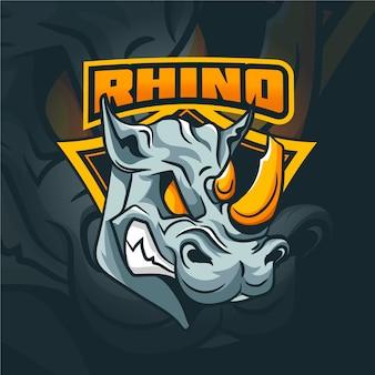Logo de mascotte de rhinocéros sauvage