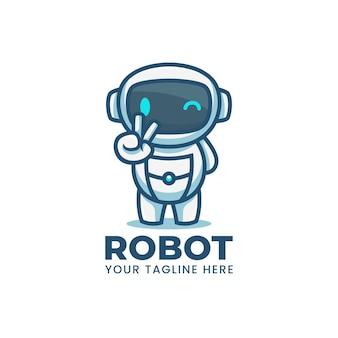 Logo de mascotte de robot bleu dessin animé mignon