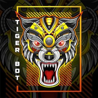 Logo De Mascotte De Robot De Tête De Tigre Vecteur Premium