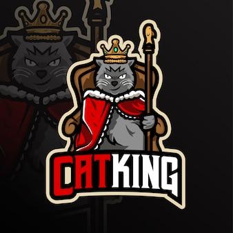 Logo de mascotte de roi chat