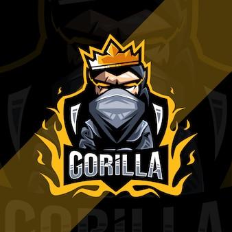 Logo de mascotte de roi gorille mignon esport