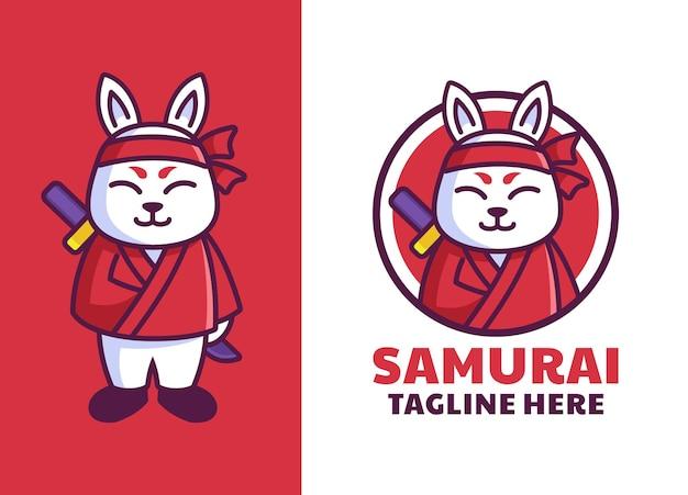 Logo de mascotte de samouraï lapin japonais