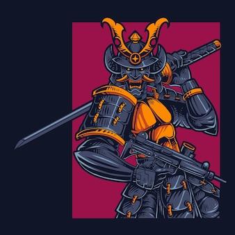 Logo de mascotte de samouraï oni