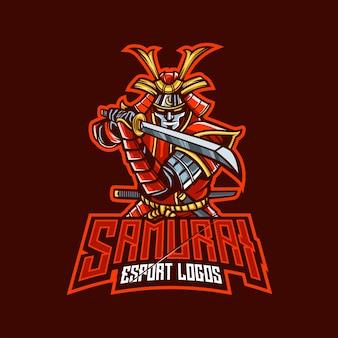 Logo de mascotte de samouraï pour l'esport et le sport