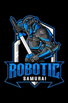 Logo de mascotte de samouraï robotique