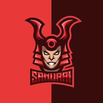 Logo de mascotte de samouraï