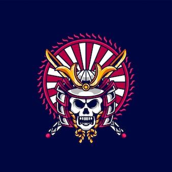 Logo mascotte samurai crâne et esport
