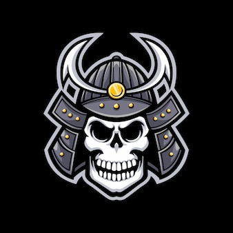 Logo de la mascotte de samurai crâne isolé