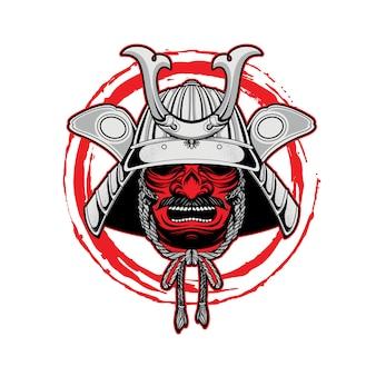 Logo mascotte samurai dessinée à la main